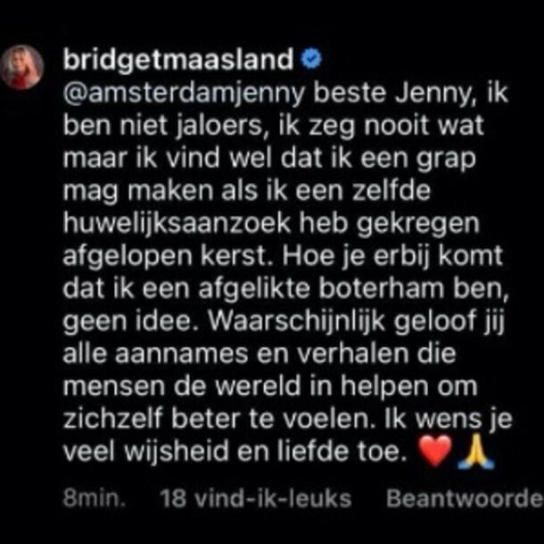 Bridget Maasland op Instagram
