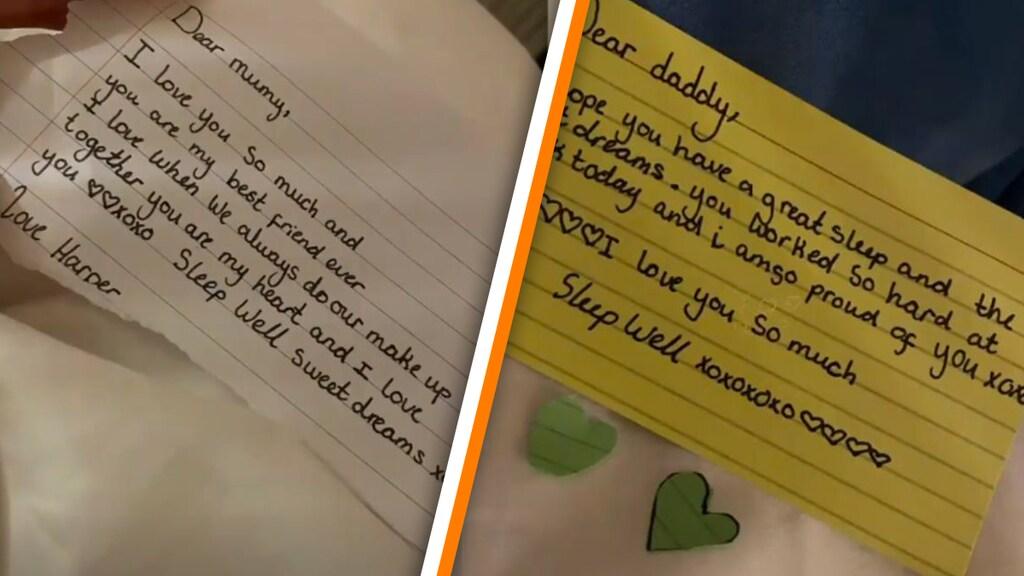 Harpers briefjes aan haar ouders Victoria en David Beckham
