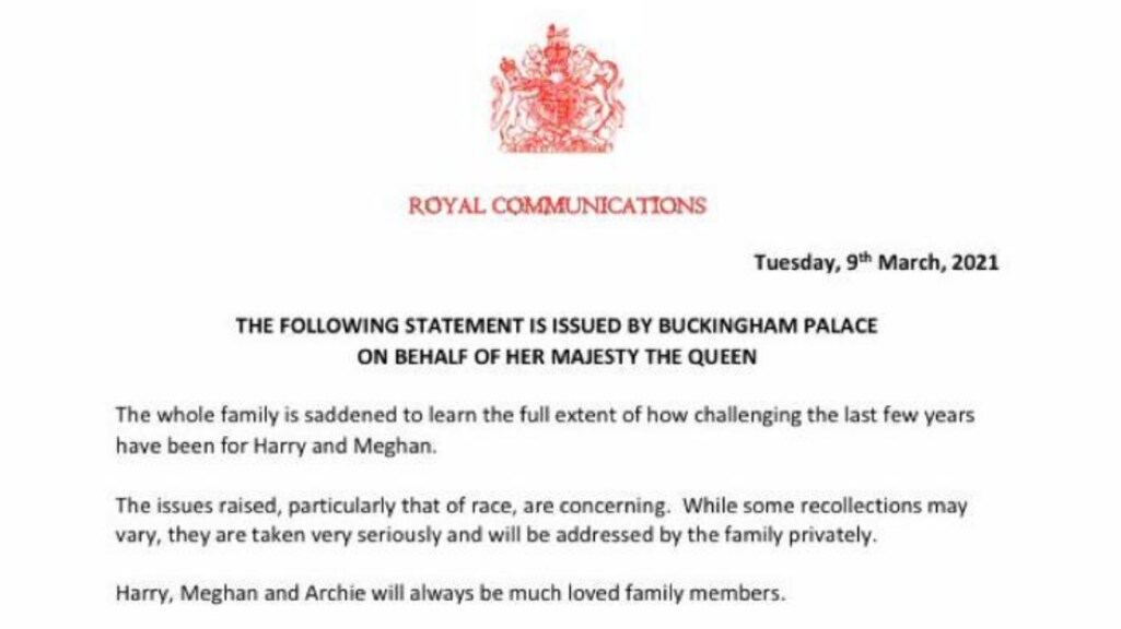 De verklaring van het Britse koningshuis.