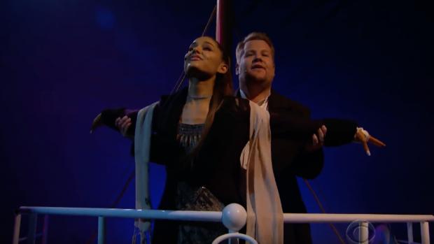 James Corden en Ariana Grande in geweldige versie Titanic