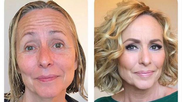Goudeerlijk: Angela Groothuizen zonder en met make-up