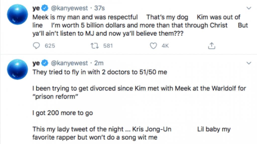 De inmiddels verwijderde tweets van Kanye West